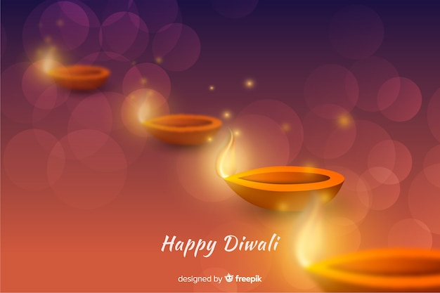 Realistic diwali background with gradient Free Vector