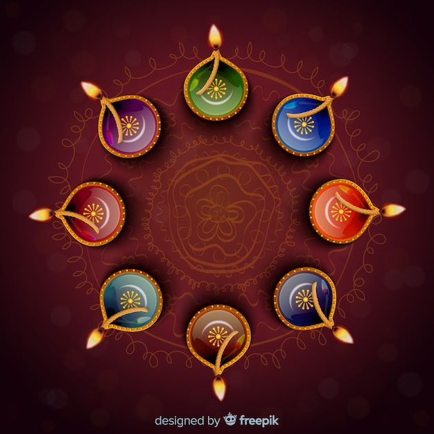 Realistic diwali background Free Vector
