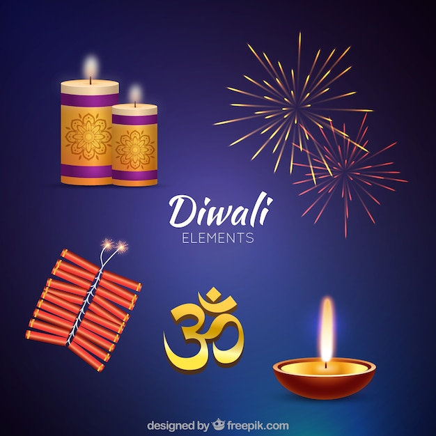 Realistic diwali elements