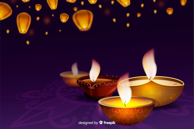 Realistic diwali festive background with candles Free Vector