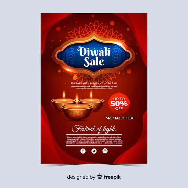 Realistic diwali holiday sale poster Free Vector