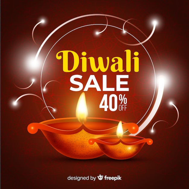 Realistic diwali sale with 40% discount Free Vector