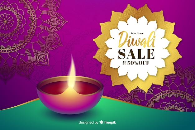 Realistic diwali sale with candle and badge Free Vector
