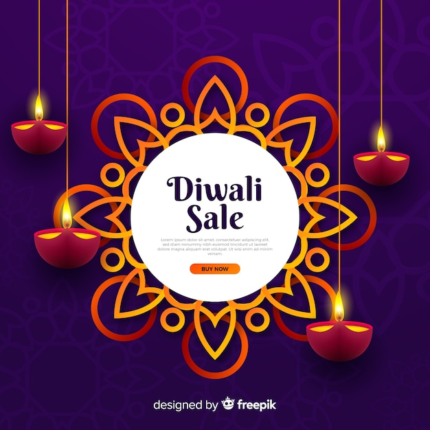 Realistic diwali sale with candles Free Vector