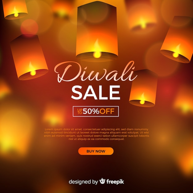 Realistic diwali sale with offer Free Vector