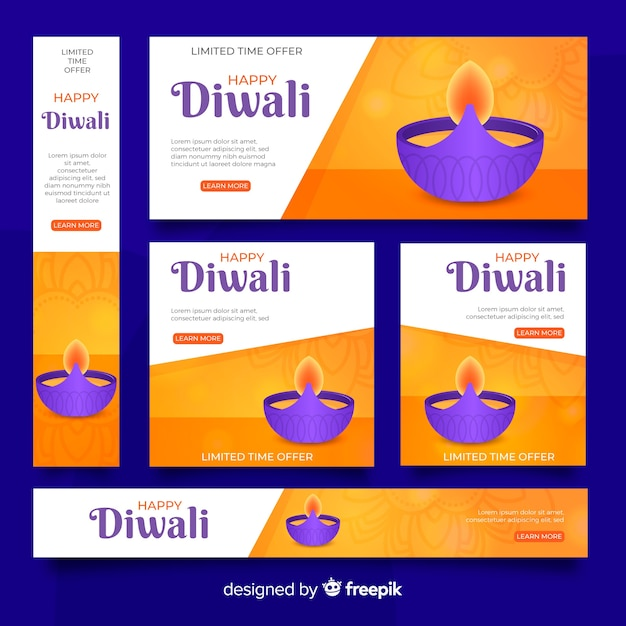 Realistic diwali web banners with candle in a bowl Free Vector
