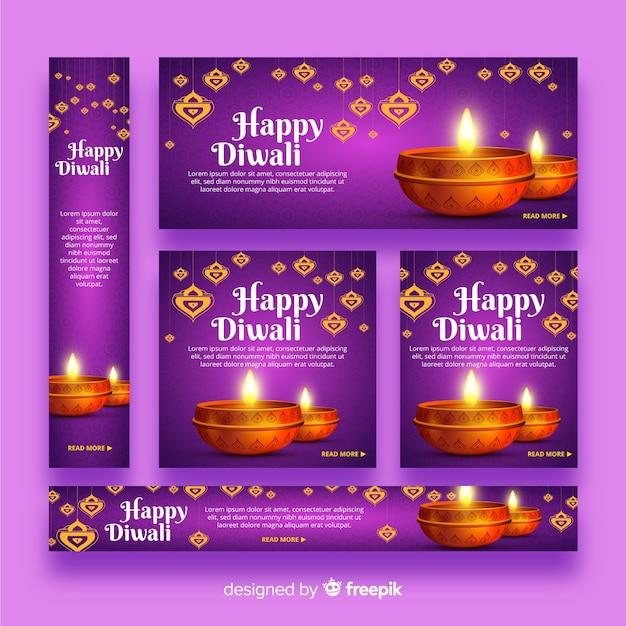 Realistic diwali web banners Free Vector