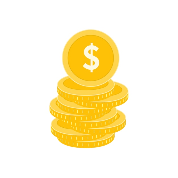 Realistic dollar coin Premium Vector