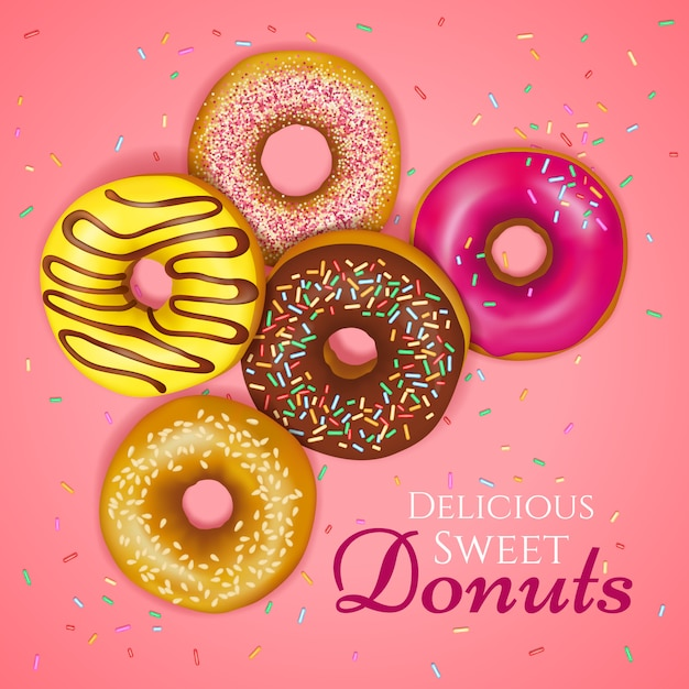Realistic donuts illustration Free Vector