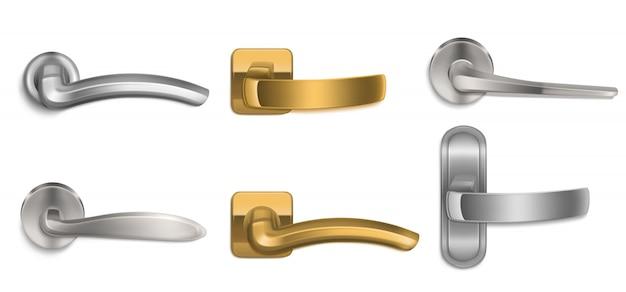 現実的なドアは金と銀のノブセットを処理します 無料ベクター
