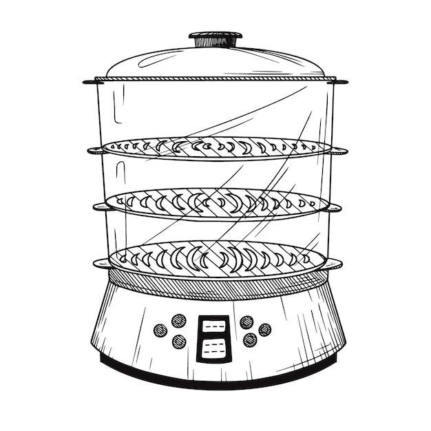 Realistic double boiler  on white background.  illustration in sketch style. Premium Vector