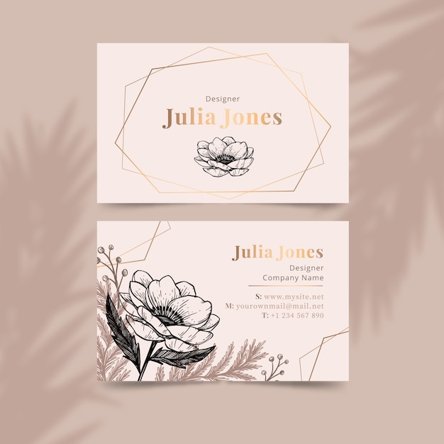 Realistic draw floral business card template Free Vector