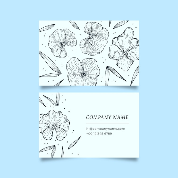 Realistic drawing of floral business card template Free Vector