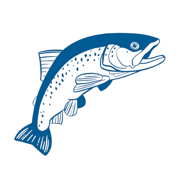 Realistic drawing of the trout jumping out water Premium Vector