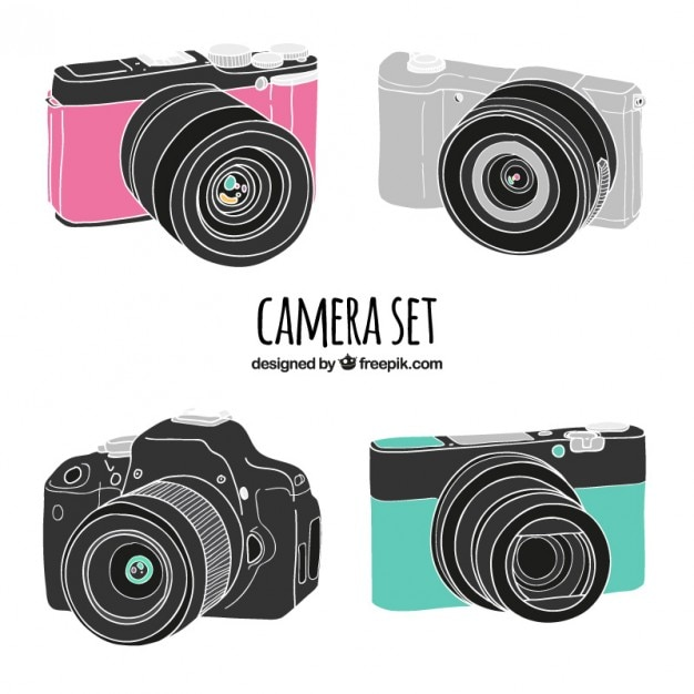 Realistic drawings camera Premium Vector