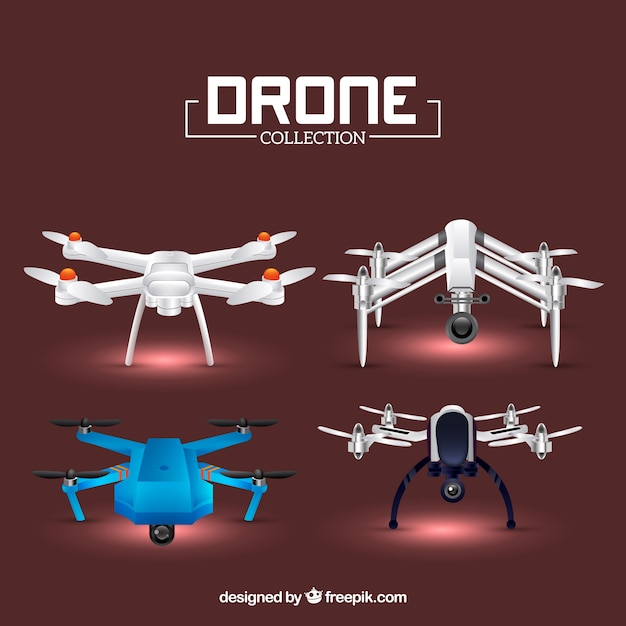 Realistic drone collection of four