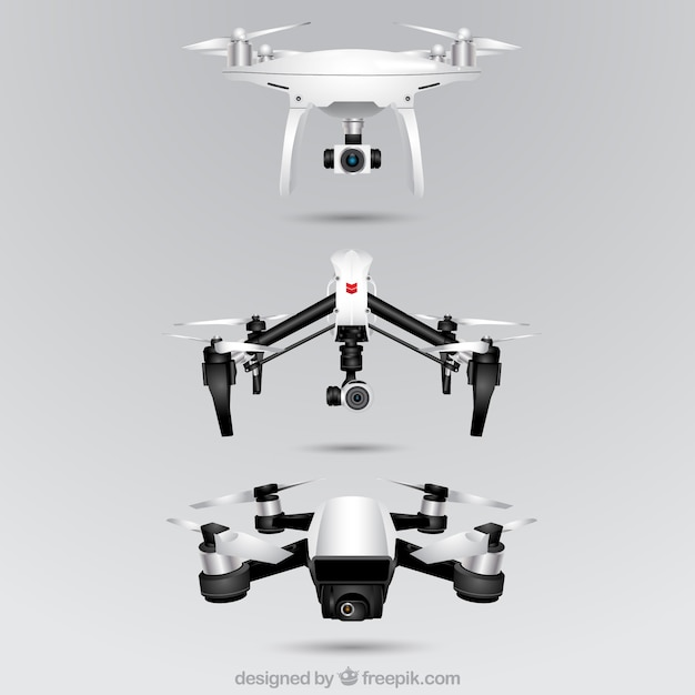 Realistic drone collection of three Free Vector