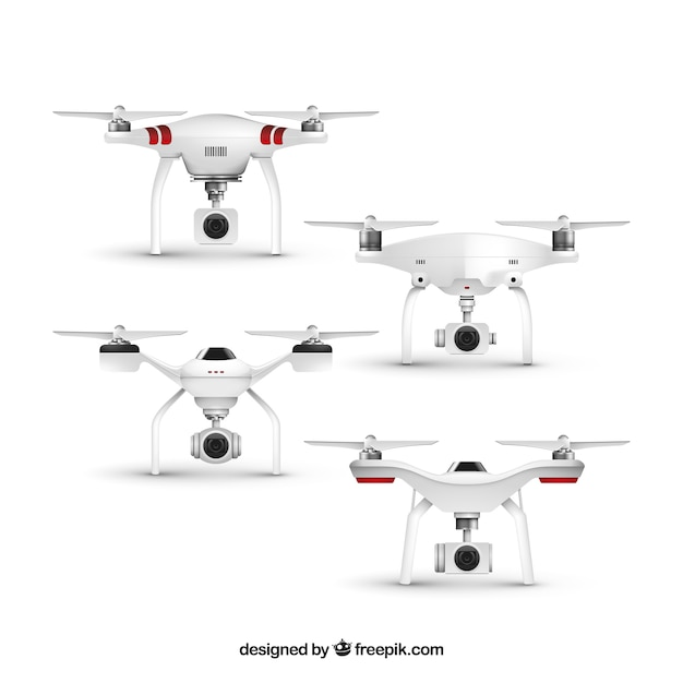Realistic drone set of four