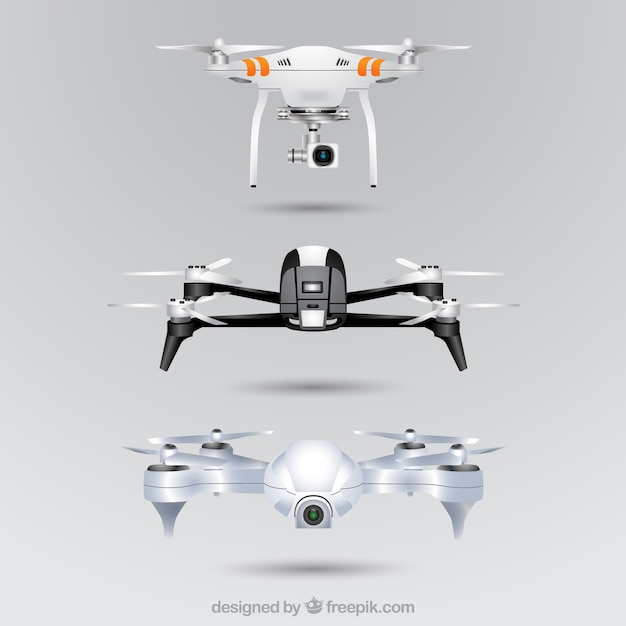 Realistic drone set Free Vector