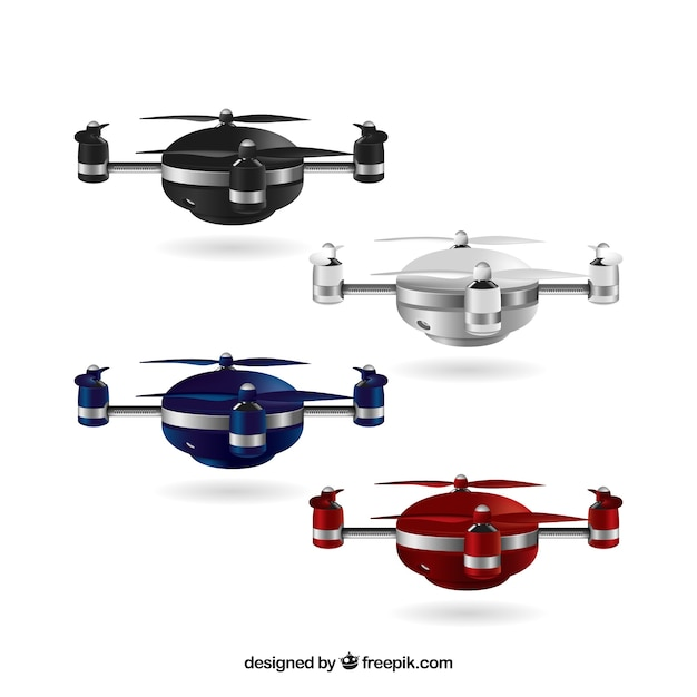 Realistic drones in different colors