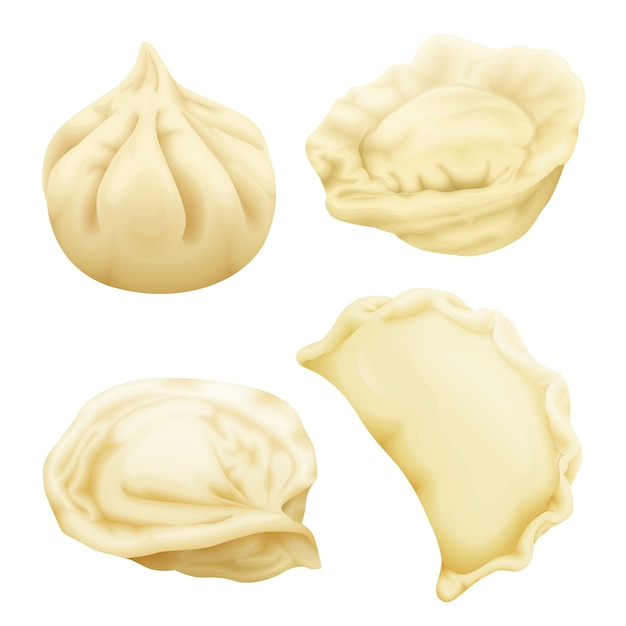 Set di gnocchi realistici. vareniki pierogi ravioli khinkali pelmeni manti momo tortellini. Vettore gratuito