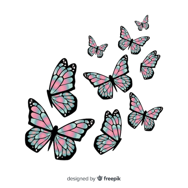 Realistic duotone butterflies group flying Free Vector