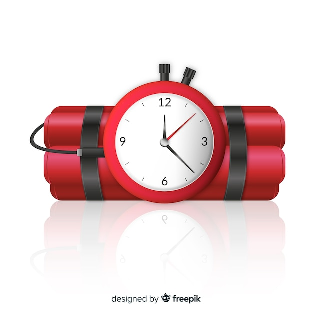 Realistic dynamite with clock Free Vector