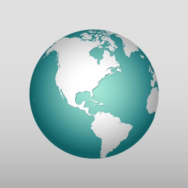 Realistic earth  icon in different colors Premium Vector
