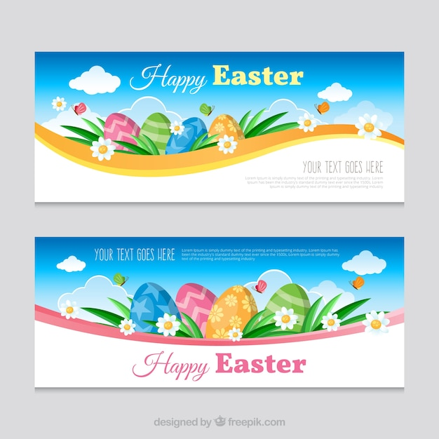 Realistic easter banners with decorative\ eggs