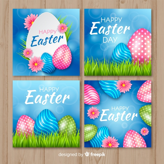 Realistic easter day banners Free Vector