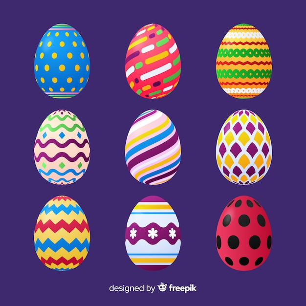 Realistic easter egg collection Free Vector