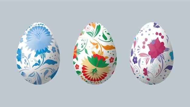 Реалистичные пасхальные яйца с петриковской росписью. петриковская роспись. Premium векторы