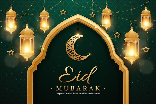 Realistic eid mubarak background with candles and moon Free Vector