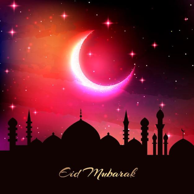 モスクと月の現実的なイードムバラクシルエット 無料ベクター