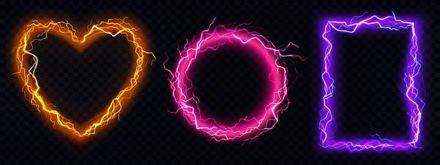 Fotogrammi di fulmini elettrici realistici Vettore gratuito