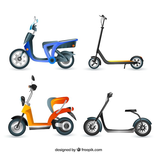 Realistic electric scooter collection Free Vector