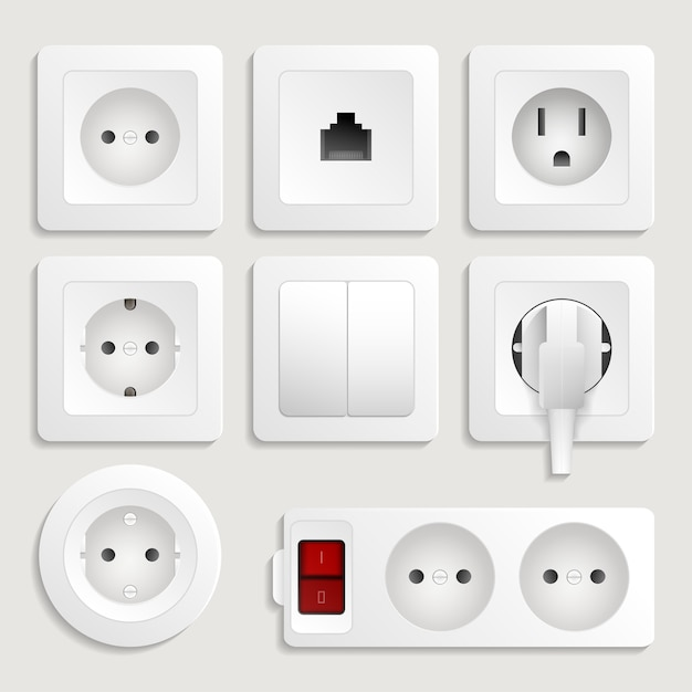 Realistic electric wall outlet set Premium Vector