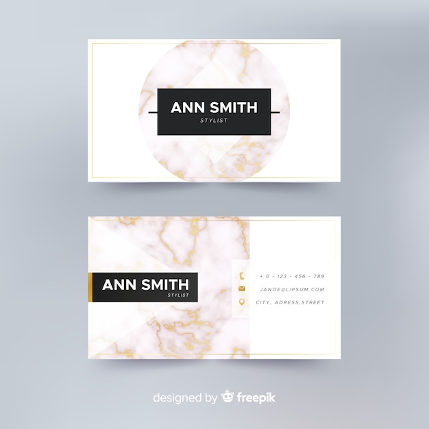 Realistic elegant business card template Free Vector