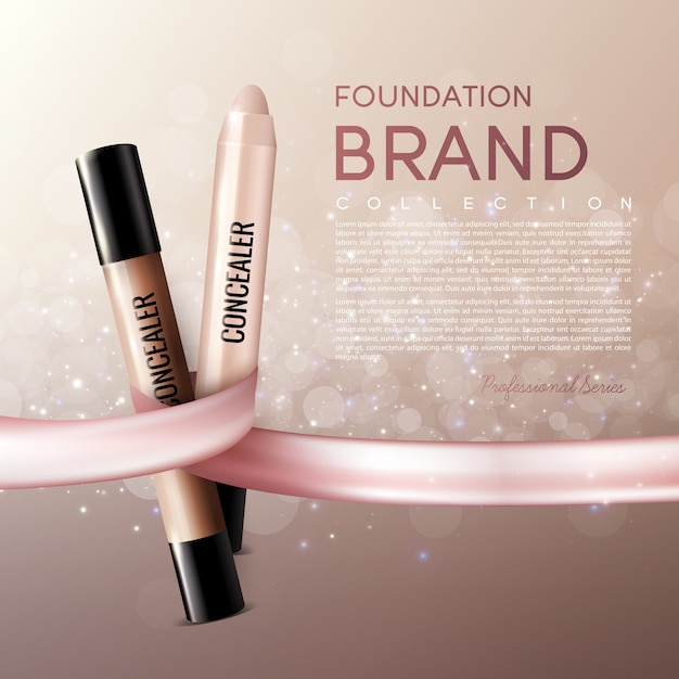 Realistic elegant female cosmetic ads template with text and concealer sticks on Free Vector