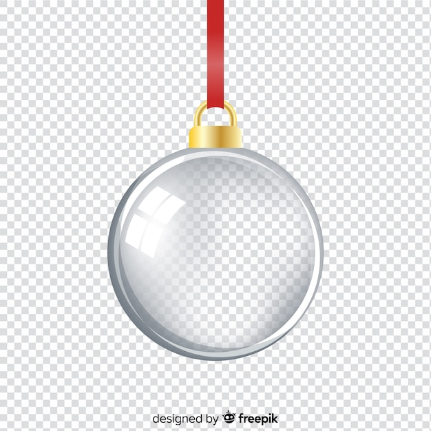 Realistic elegant and translucent  christmas ball Free Vector