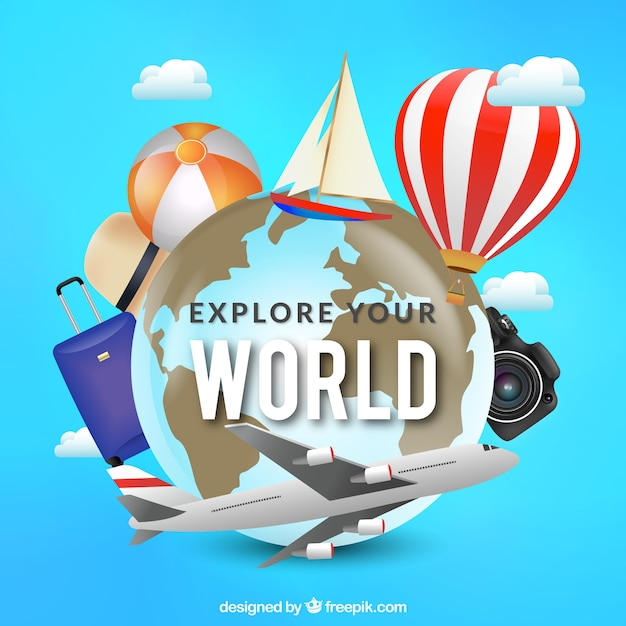 Realistic elements for world tourism day