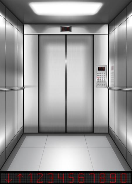 Cabina ascensore realistica con porte chiuse all'interno Vettore gratuito