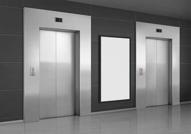 Realistic elevators with close door and ad poster Free Vector