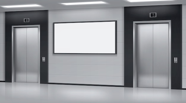 ドアを閉め、壁に広告ポスタースクリーンを備えたリアルなエレベーター。オフィスまたはモダンなホテルの廊下、エレベーターと空白のディスプレイ、3dベクトルイラストと空のロビーのインテリア 無料ベクター