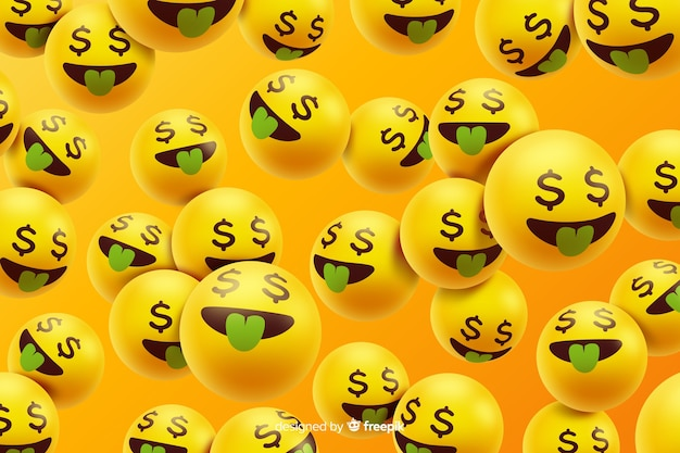Realistic emoji characters with money Free Vector