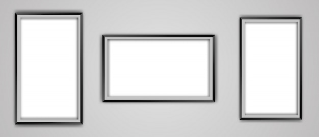 Realistic empty black picture frame mockup set isolated on a transparent background. Premium Vector