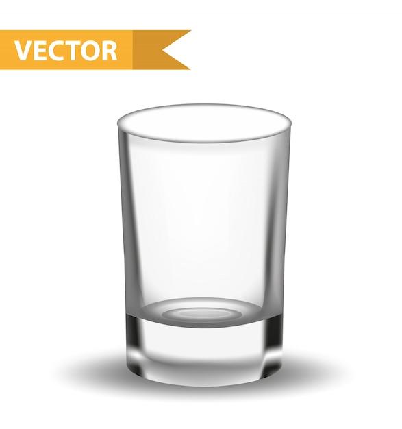 現実的な空のグラス。レストラン、バーコレクションのショット。液体用ガラス器具。白い背景の上。図。 Premiumベクター