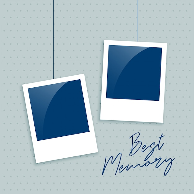Realistic empty photo frame for memory Free Vector