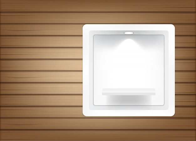 Realistic empty square shelves for interior to show product with light and shadow Premium Vector