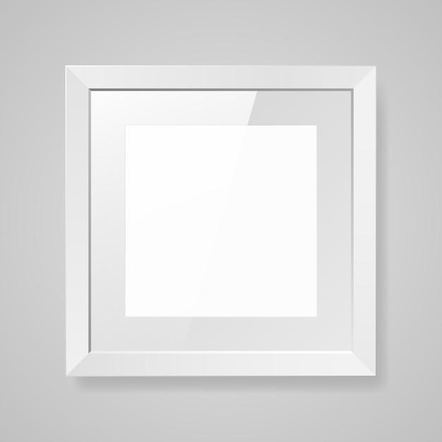 Realistic empty square white frame with glass Premium Vector